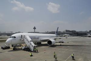 An Airbus A350-900 test plane is seen at Singapore's…