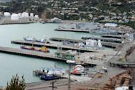 """This file photo shows a general view of Lyttelton port in New Zealand. All 43 crew from the stricken N.Zealand fishing trawler Amaltal Columbia arrived safely on shore on Wednesday telling of a """"scary"""" ordeal as a fire swept through their ship"""