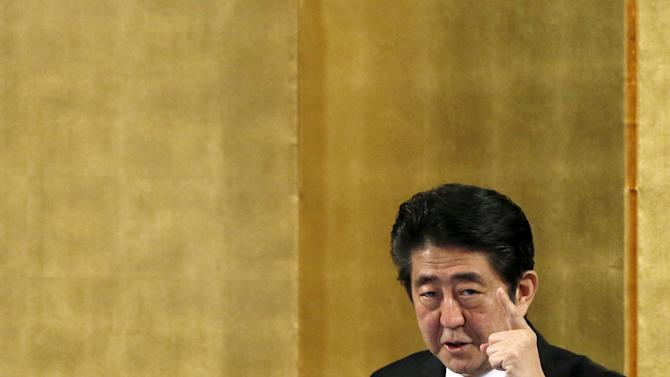 File picture of Japan's PM Abe speaking at a lecture event in Tokyo