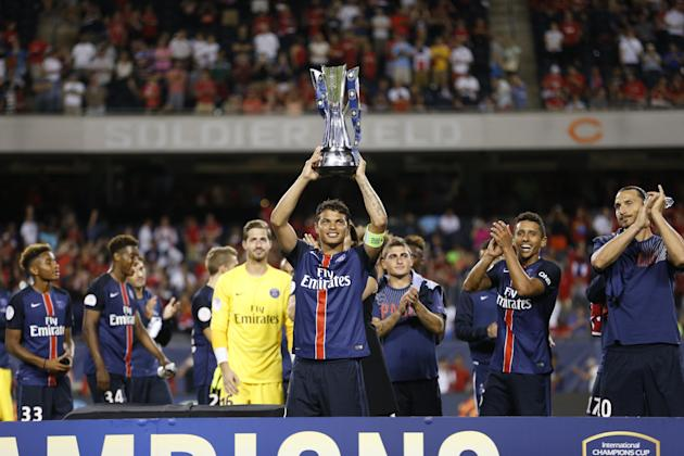 IMAGE DISTRIBUTED FOR INTERNATIONAL CHAMPIONS CUP - Paris Saint-Germain celebrates winning the Champions Cup after playing a soccer match against Manchester United during the International Champions C