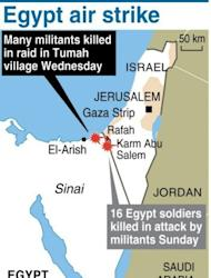 Map of Egypt's Sinai, where at least 20 militants were killed in a helicopter strike Wednesday. Gunfire broke out Thursday in the Sinai town of El-Arish, reports said, as tensions simmered after the Egyptian authorities vowed to crush a surge in Islamist militancy in the tense peninsula.