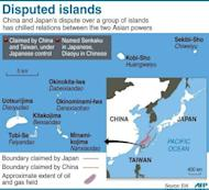 Graphic showing disputed islands claimed by Japan and China known as Senkaku by Tokyo and Diaoyu by Beijing