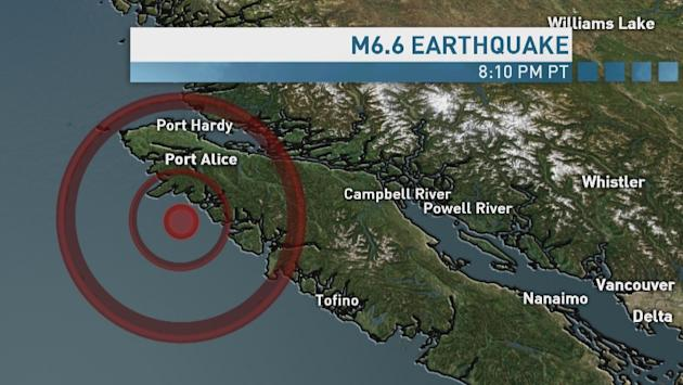 Map shows the location of the 6.6 magnitude earthquake that struck Wednesday 40 kms southwest of Port Alice at a depth of 22 kms. The earthquake was initially reported at 6.7 magnitude, but the USGS N