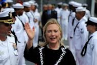US Secretary of State Hillary Clinton leaves the USS Fitzgerald in Manila bay, after signing a joint declaration last month. The United States, facing a rising China but a tighter budget, expects to station several combat ships in Singapore and may step up deployments to the Philippines and Thailand, a naval officer said