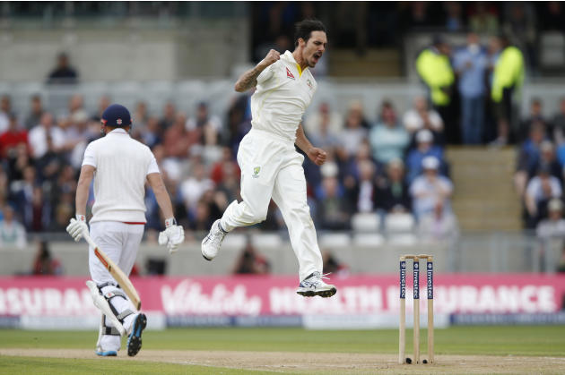 Australia's Mitchell Johnson celebrates after dismissing England's Jonny Bairstow