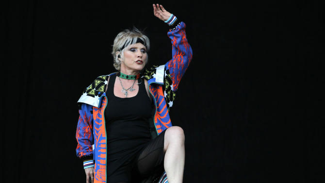 """FILE - In this July 6, 2011 photo, American singer Debbie Harry performs during a concert of her band Blondie at the Optimus Alive music festival in Lisbon. Harry loves to search for unique items at thrift shops, but sometimes the Blondie front woman had to do it because times were hard. """"At various times in my life (it has) been really necessarily to shop like that,"""" she said in an interview. (AP Photo/Armando Franca, File)"""