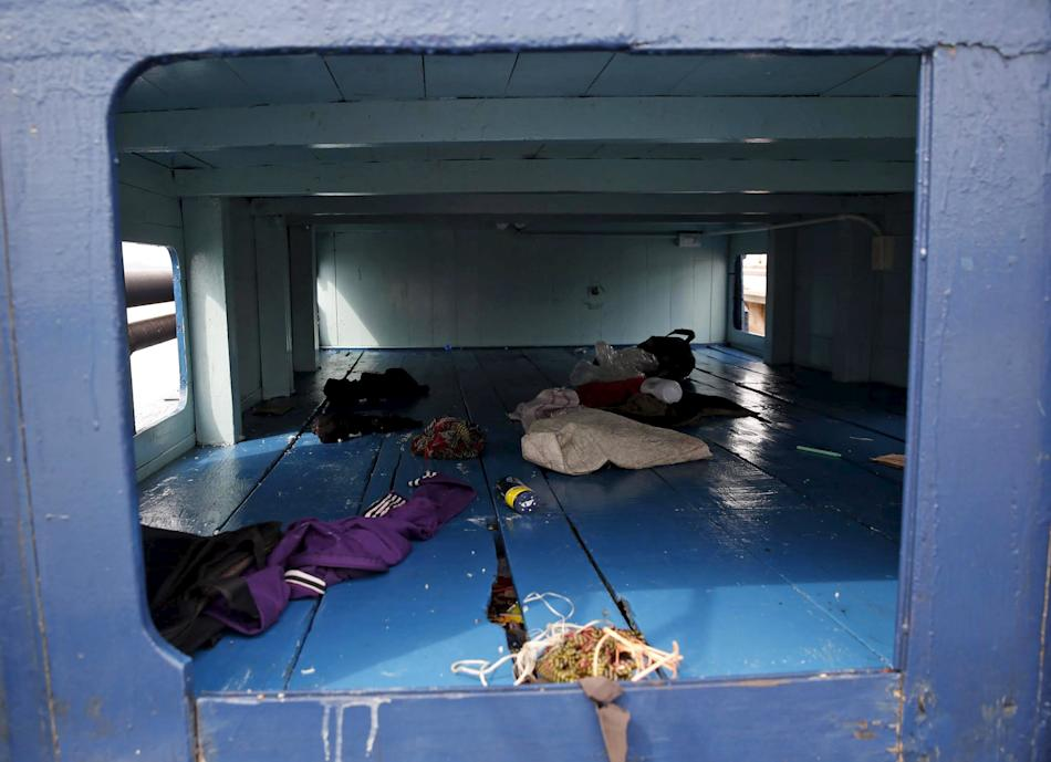 Living quarters on a boat that carried Rohingya migrants for three months is seen at Langkawi island