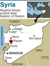 Map of Syria locating army assault on Rastan. Syrian forces tried to storm the rebel bastion of Rastan under cover of gunfire and shelling, reports said, as Damascus admitted sanctions were biting and the head of the main opposition bloc resigned