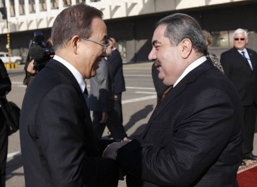 "Iraq's Foreign Minister Hoshiyar Zebari (R) welcomes United Nations Secretary-General Ban Ki-moon (L) upon the his arrival at Baghdad International Airport. UN chief Ban Ki-moon called for Iraq and Kuwait to seize a ""historic opportunity"" to normalise ties, and also said Syria's president must face justice if he uses chemical weapons"