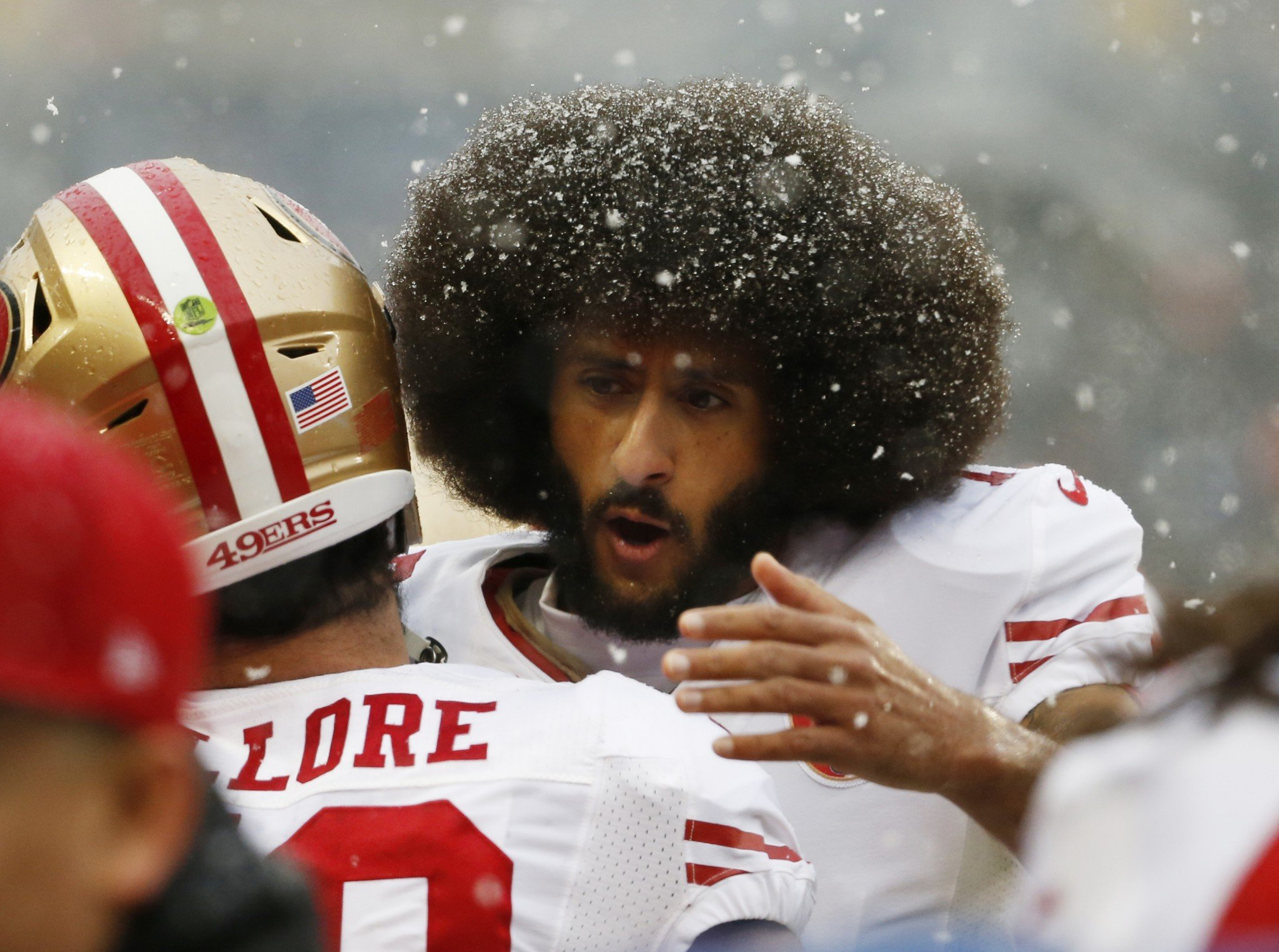 Colin Kaepernick didn't complete his first pass until seven-plus minutes into the second quarter. (AP)