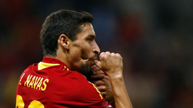 Spain's Navas celebrates scoring a goal during their international friendly soccer match against Chile at the Stade de Geneve in Geneva