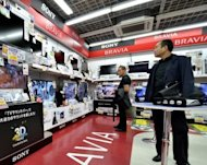 File photo shows Sony products displayed at an electronics store in Tokyo. Sony shares tumbled below 1,000 yen for the first time since 1980 as the Tokyo stock market plunged early Monday following a dismal performance from Wall Street and amid global economic concerns