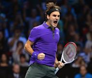 Roger Federer celebrates after beating Andy Murray in their semi-final match on the seventh day of the ATP World Tour Finals on November 11. Federer raised the biggest cheers from the audience as he cruised to a 7-6 (7/5), 6-2 win