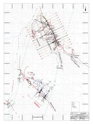SilverCrest Metals Inc, Sonora Mexico, Las Chispas Project - SECTIONS PLAN LAS CHISPAS (CNW Group/SilverCrest Metals Inc.)