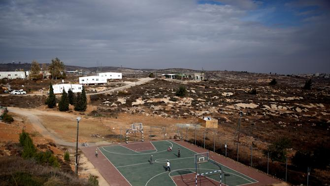 A basketball court is seen in this general view of the Jewish settler outpost of Amona, in the West Bank
