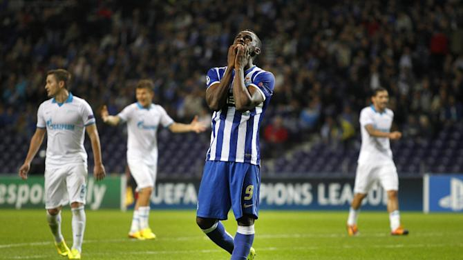 Porto's Jackson Martinez, from Colombia, gestures during the Champions League group G soccer match between FC Porto and Zenit at the Dragao stadium in Porto, northern Portugal, Tuesday, Oct. 22, 2013. Zenit won 1-0