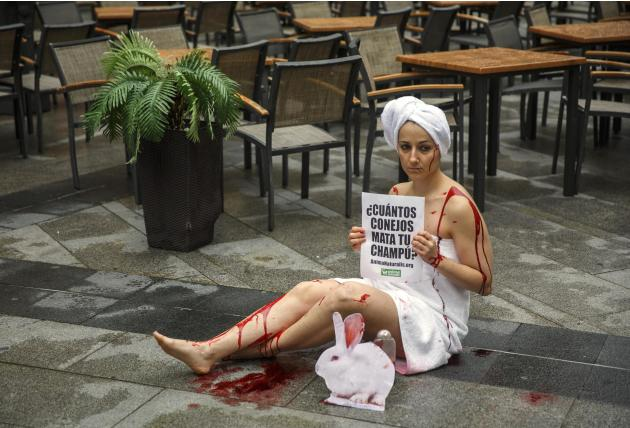 An animal rights activist covered with faked blood sits on the floor during a protest against the use of animals in research in Madrid