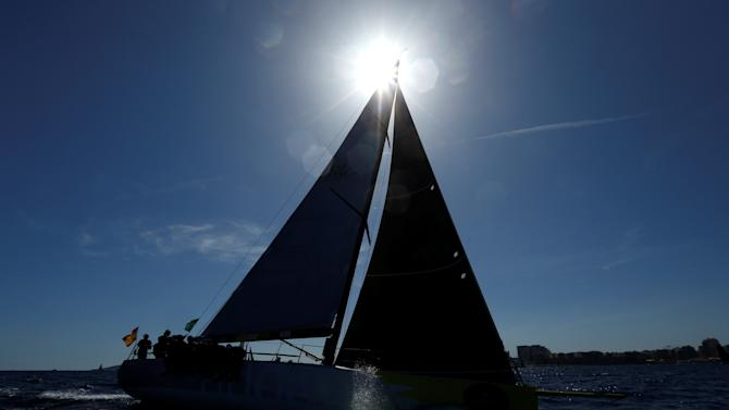 "The sailing boat ""Audax Energia"" of Spain takes part in the Rolex Middle Sea Race off Valletta's Grand Harbour"