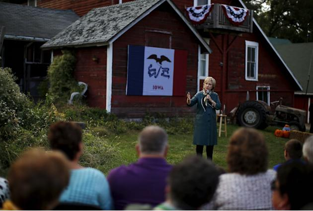 U.S. Democratic presidential candidate Hillary Clinton speaks at a campaign event in Muscatine