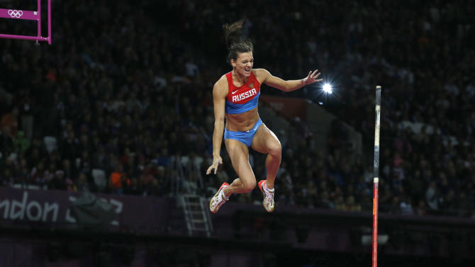 Russia's Yelena Isinbayeva fails to clear bar in women's pole vault final at London 2012 Olympic Games