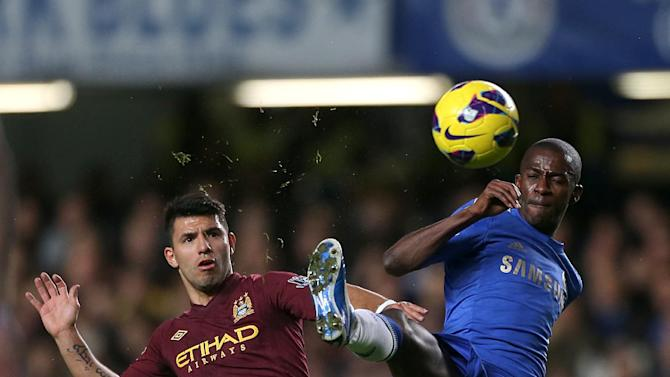 Manchester City's Sergio Aguero, left, wasted the best chance of the game
