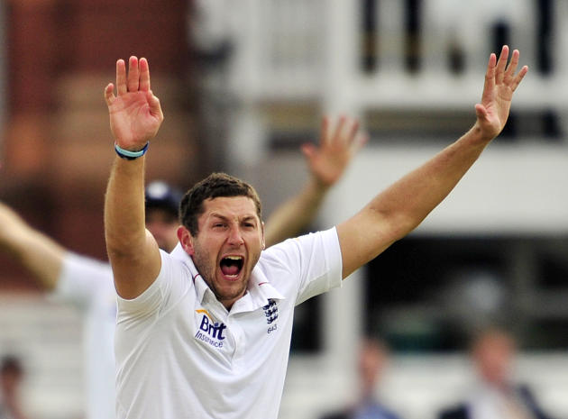 England cricketer Tim Bresnan appeals unsuccessfully for the wicket of West Indies' Shivnarine Chanderpaul during the third day of the first Test against the West Indies at Lord's cricket grou