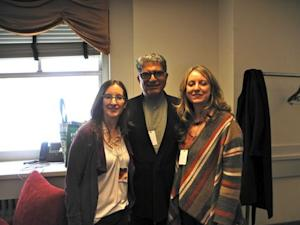 "Deepak Chopra with Nancy and Amy Harrington at ""Oprah's LIfeclass: the Tour."""