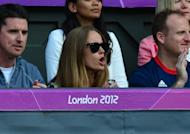 Andy Murray's girlfriend Kim Sears, watches as he plays the men's singles gold medal match against Roger Federer