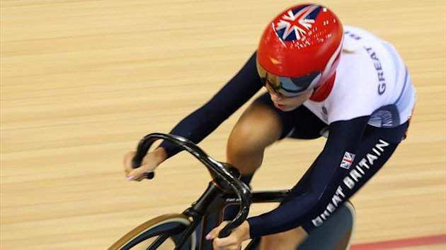 Britain's Laura Trott rides in the track cycling women's omnium