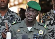 Malian military junta leader captain Amadou Sanogo speaks at Kati military camp near Bamako last month. The group of low-ranking soldiers led by Sanogo which ousted President Amadou Toumani Toure's government on March 22, last month agreed to the formation of an interim government headed by Dioncounda Traore