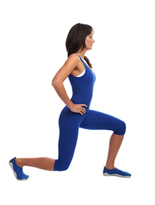 Moves like the lunge tone your thighs and tighten your butt.