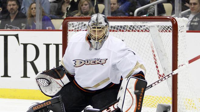 Jonas Hiller #1 Of The Anaheim Ducks Makes Getty Images