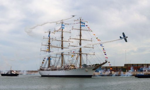 Argentina's frigate Libertad arrives in Mar del Plata, Argentina, on January 9, 2013. Argentina greeted the arrival Wednesday of a three-masted navy frigate that was caught up in a debt tussle stemming from the country's economic collapse a decade ago.