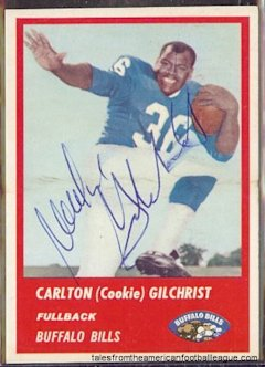 Gilchrist's 1963 Bills' Fleer card.