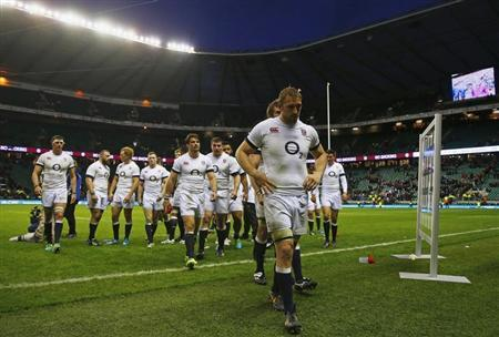 England's captain Robshaw walks his team off after losing international rugby union match against New Zealand at Twickenham in London