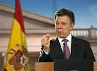 Colombian President Juan Manuel Santos, pictured at Narino presidential palace in Bogota, on April 19. Colombian authorities are unsure that leftist FARC guerrillas took a French reporter hostage, Santos said on Friday, nearly a week since Romeo Langlois went missing
