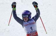 Alpine Skiing - FIS Alpine Skiing World Championships - Women's Giant Slalom - St. Moritz, Switzerland - 16/2/17 - Tessa Worley of France celebrates winning the gold medal. REUTERS/Denis Balibouse