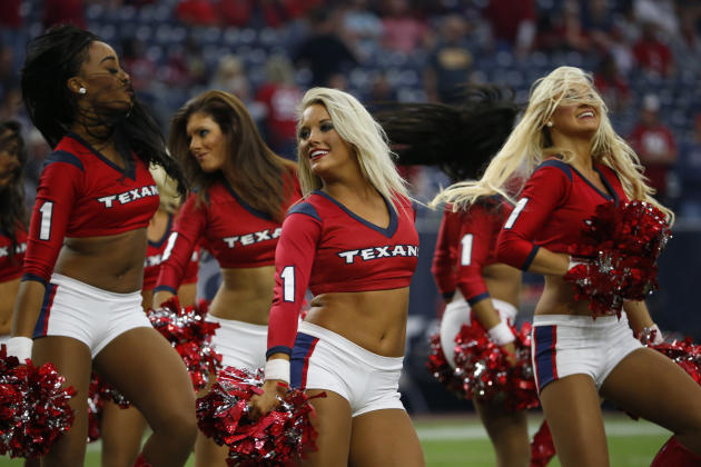 The Houston Texans cheerleaders perform during the fourth quarter of an NFL football game, Sunday, Nov. 2, 2014, in Houston. The Eagles won 32-21. (AP Photo/Tony Gutierrez)