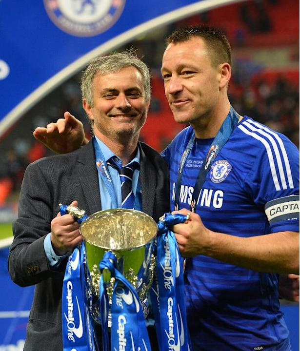 Manager Jose Mourinho (left) says John Terry (right) will still be a Chelsea player next season