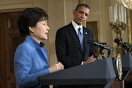 "US President Barack Obama and President of South Korea Park Geun-Hye at the White House on May 7, 2013 in Washington. Obama and Park held the press conference after a meeting in the Oval Office. South Korea's presidential office apologised Sunday for an ""very shameful"" scandal involving a former senior official who was fired midway through President Park Geun-Hye's US visit"