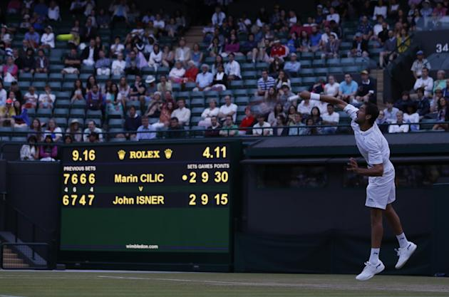 Isner at it again at Wimbledon, tied 10-all in 5th vs. Cilic