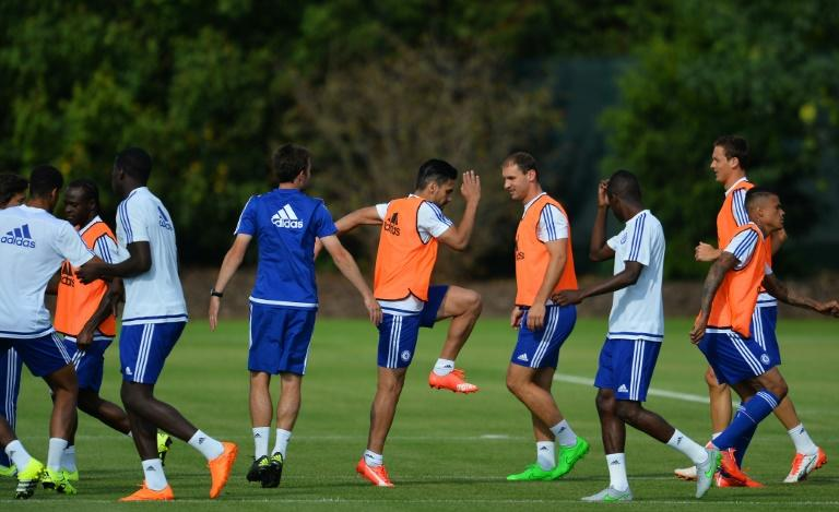 Chelsea's Radamel Falcao, pictured (C) at a team training session, is expected to make his first domestic appearance for the side since signing on loan from Monaco