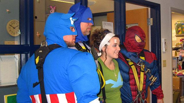 Superhero Window Washers Swoop Into Wisconsin Children's Hospital