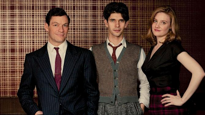 """Dominic West stars as Hector Madden, Ben Whishaw stars as Freddie Lyon, and Romola Garai stars as Bel Rowley in """"The Hour."""""""