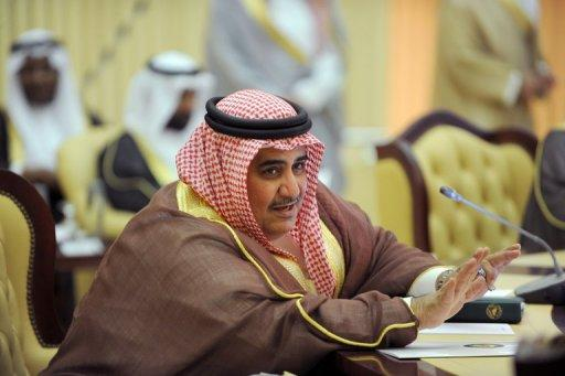 Bahrain's Foreign Minister Sheikh Khaled bin Ahmad Al-Khalifa attends the Gulf Cooperation Council (GCC) meeting in Riyadh on May 13. Sheikh Khaled has warned Iran to stop interfering in its internal affairs while affirming its support for a union between the six nations of the GCC