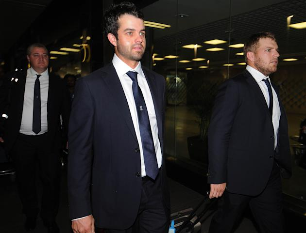 The Australian cricket team led by George Bailey arrives in Mumbai on Oct. 5, 2013, The Australian team will play a T20 match and an ODI series comprising of seven matches against India. (Photo: B L S