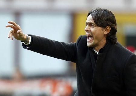 AC Milan's coach Inzaghi shouts during their Italian Serie A soccer match against Atalanta  in Milan
