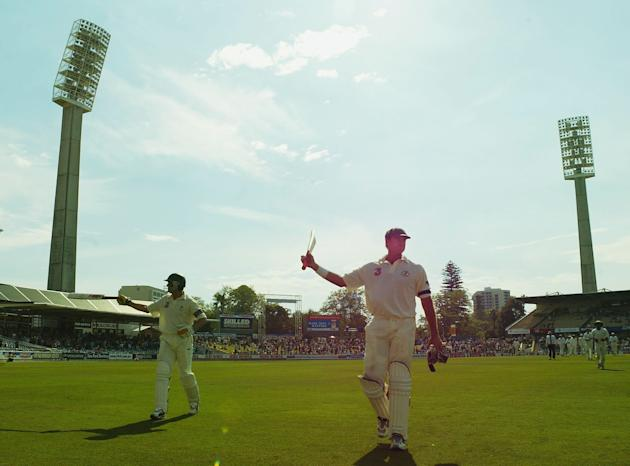 Matthew Hayden of Australia leaves the field after making a world record 380 runs