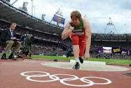 Belarus' Nadezhda Ostapchuk competes to win the women's shot put final at the athletics event of the London 2012 Olympic Games in London