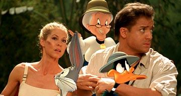 Jenna Elfman , Bugs Bunny, Granny, Daffy Duck and Brendan Fraser in Warner Bros. Looney Tunes: Back in Action